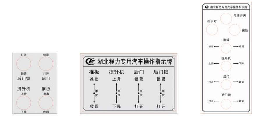 驾驶室操作牌(电控) 手动操作牌(备用) 提升机前操作牌(电控)