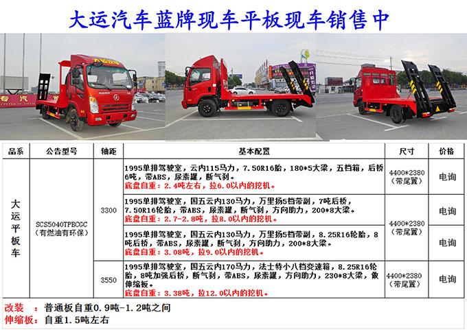 大运蓝牌平板运输车现车销售(三款配置 )